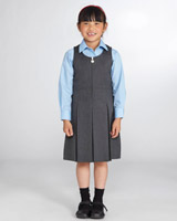 grey Pleated School Pinafore
