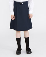 navy Buckle Waist Pleated Skirt