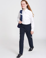 navy Girls Regular Leg Stretch Trousers