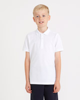 white Boys Slim Fit Pique Polo - Pack Of 2
