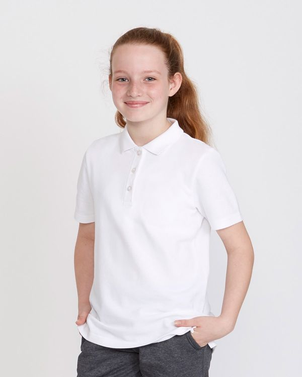 Girls Stain Release Short Sleeve Slim Polo Shirts - Pack Of 2