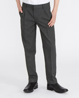 grey Boys Pleat Front Trousers