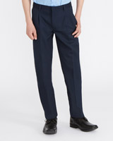navy Boys Pleat Front Trousers