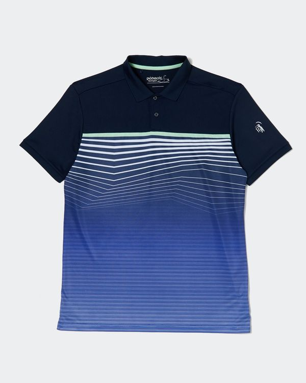 Pádraig Harrington Navy All Over Stripe Polo (UPF 50)