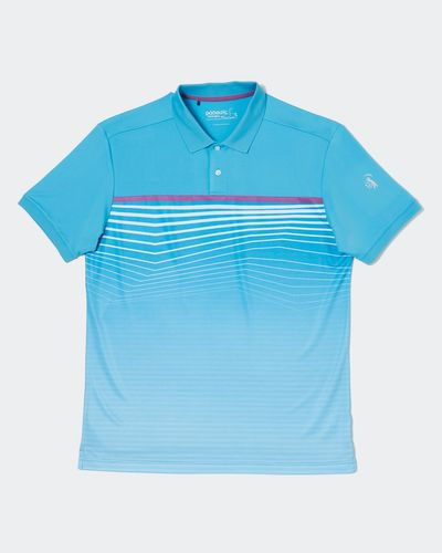 Pádraig Harrington Aqua All-Over Stripe Polo Shirt (UPF 50) thumbnail