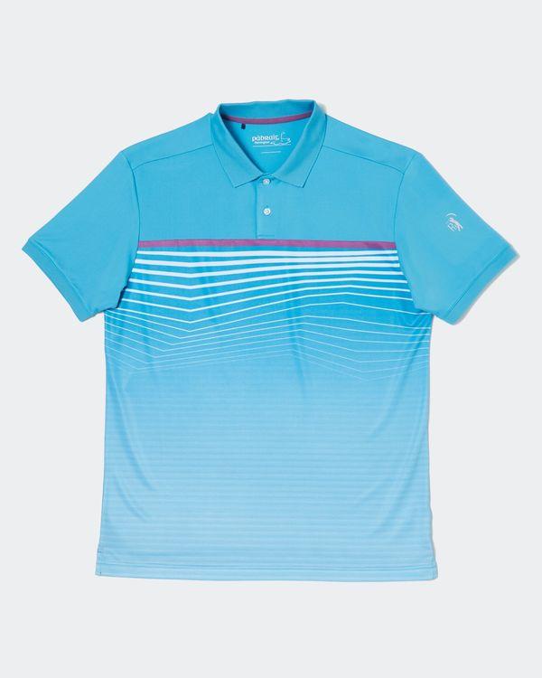 Pádraig Harrington Aqua All-Over Stripe Polo Shirt (UPF 50)