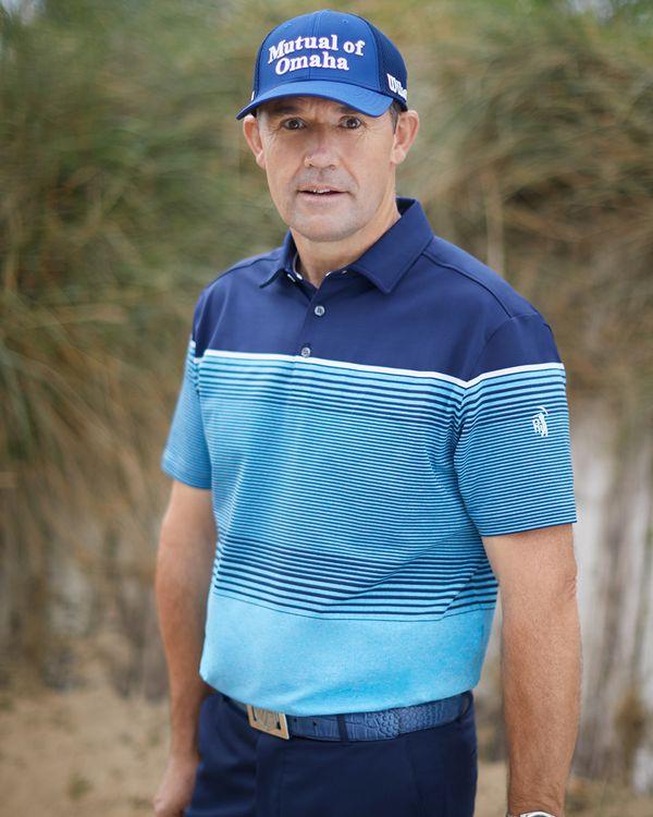 Pádraig Harrington Blue Stripe Polo (UPF 50)