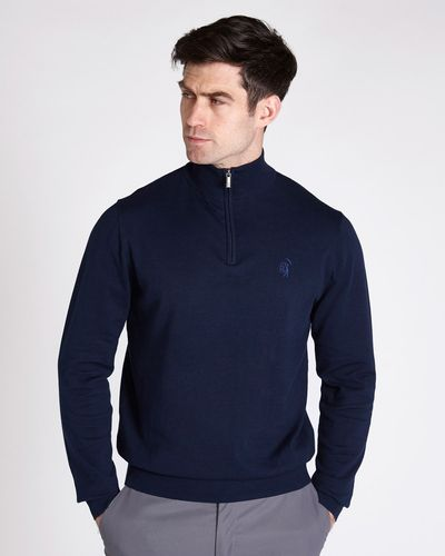 Pádraig Harrington Navy Quarter Zip Funnel Neck Jumper