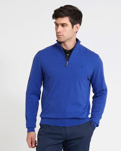Pádraig Harrington Blue Quarter Zip Funnel Neck