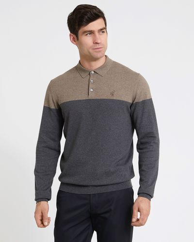 Pádraig Harrington Charcoal Colour Block Knit