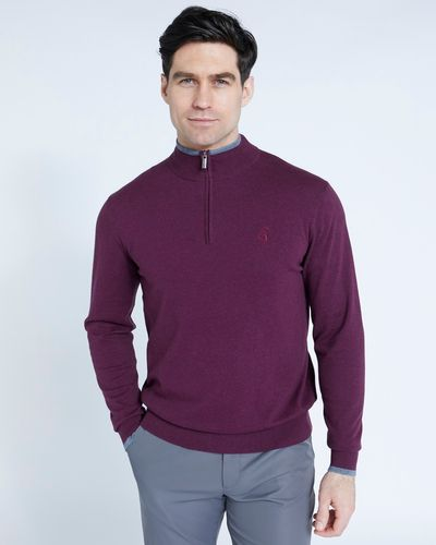 Pádraig Harrington Burgundy Quarter Zip Funnel Neck Jumper