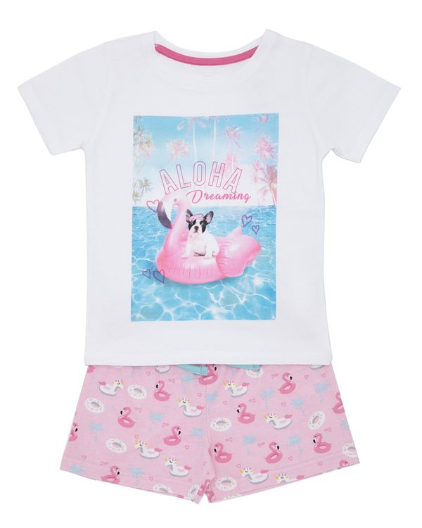 db213d8d4f Dunnes Stores | White Jersey Short Pyjama Set - Pool