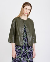 khaki Carolyn Donnelly The Edit Leather Jacket