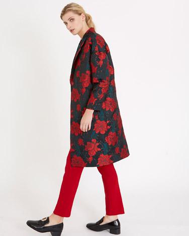 printCarolyn Donnelly The Edit Rose Jacquard Coat