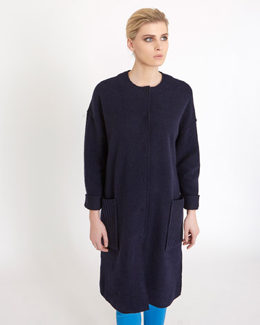 navy Carolyn Donnelly The Edit Ribbed Boiled Wool Coat