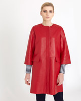 red Carolyn Donnelly The Edit Red Leather Coat