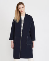 navy Carolyn Donnelly The Edit Jersey Bonded Coat
