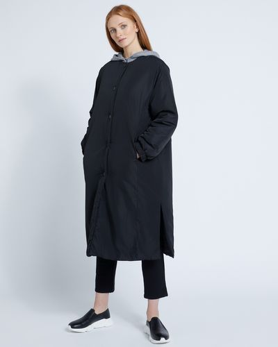 Carolyn Donnelly The Edit Gathered Cuff Quilted Coat Black