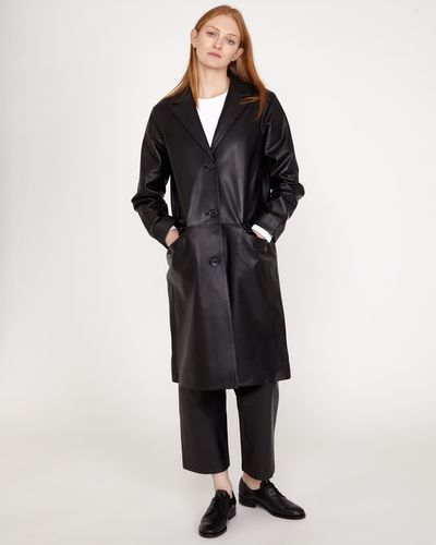 Carolyn Donnelly The Edit Leather Coat With Revere Collar