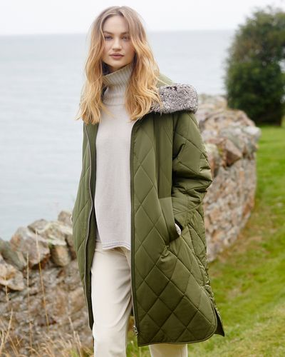 Carolyn Donnelly The Edit Fur Trim Hooded Quilted Coat
