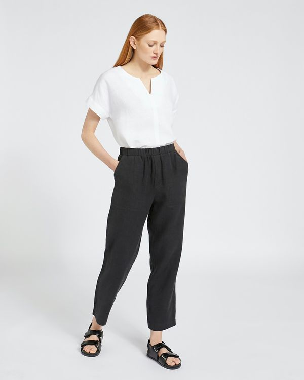 Carolyn Donnelly The Edit Black Linen Trousers