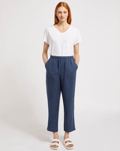 Carolyn Donnelly The Edit Dark Denim Linen Trouser