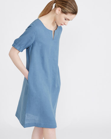 blueCarolyn Donnelly The Edit Gathered Sleeve Linen Dress