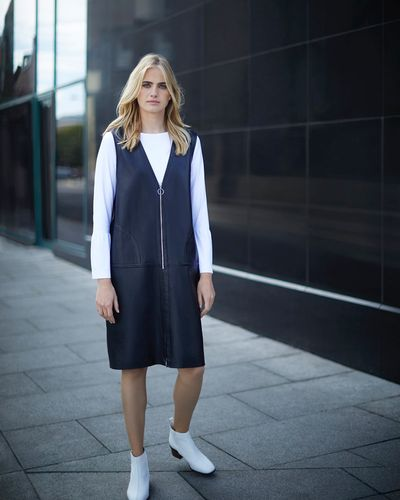 Carolyn Donnelly The Edit Leather Pinafore Dress
