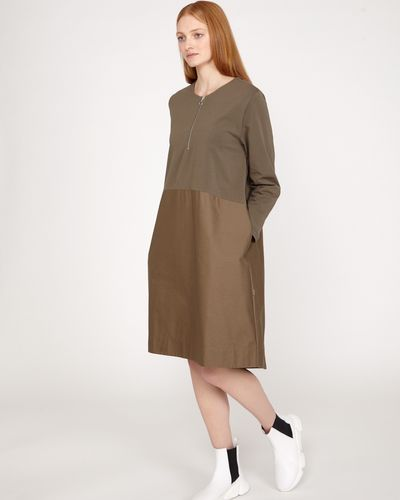 Carolyn Donnelly The Edit Khaki Zip Dress thumbnail