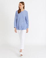 blue Carolyn Donnelly The Edit Chambray Linen Shirt