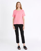 pink Carolyn Donnelly The Edit Linen Front Pleat Top