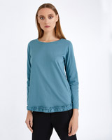blue Carolyn Donnelly The Edit Frill Hem T-Shirt