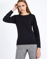 black Carolyn Donnelly The Edit Gathered Sleeve Top