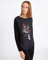 black Carolyn Donnelly The Edit Flower Print Top