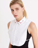 white Carolyn Donnelly The Edit Red Embroidered Shirt Bib