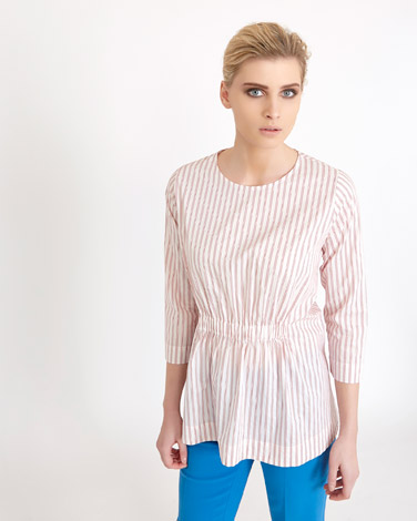 red Carolyn Donnelly The Edit Striped Shirting Top