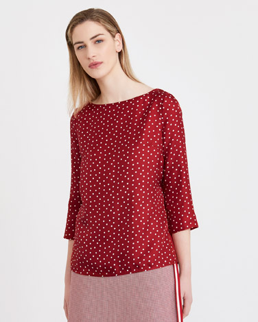 red Carolyn Donnelly The Edit Silk Spot Top