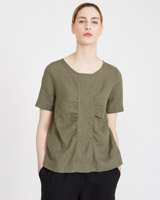 khaki Carolyn Donnelly The Edit Gathered Top