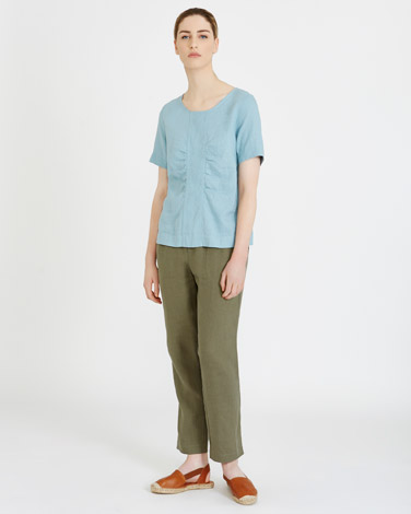 blueCarolyn Donnelly The Edit Gathered Linen Top