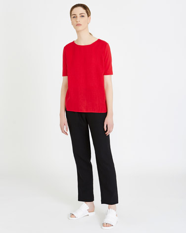 redCarolyn Donnelly The Edit Jersey Side Linen Top