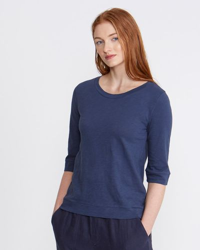 Carolyn Donnelly The Edit Indigo Button Back Top