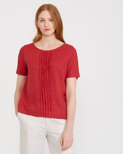 Carolyn Donnelly The Edit Linen Frayed Trim Top