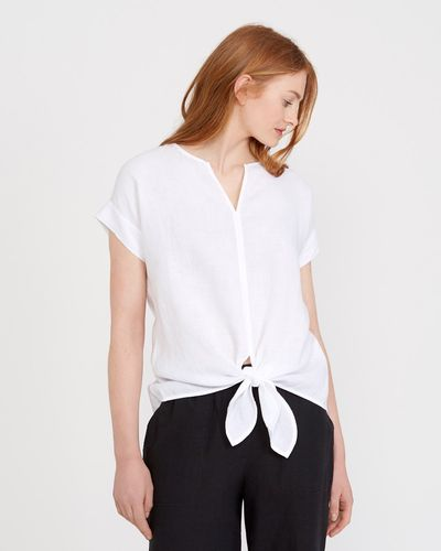 Carolyn Donnelly The Edit Linen Tie Front Top