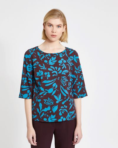 Carolyn Donnelly The Edit Two-Tone Floral Print Top