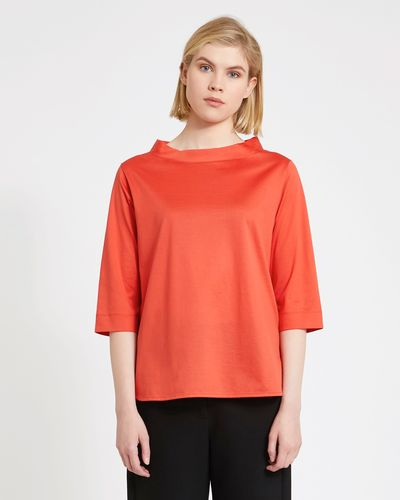 Carolyn Donnelly The Edit Cotton Funnel Neck Top