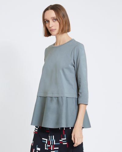 Carolyn Donnelly The Edit Blue Tunic Flared Top