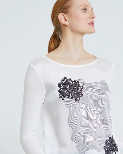 Carolyn Donnelly The Edit High Low Optical Petal Print Top
