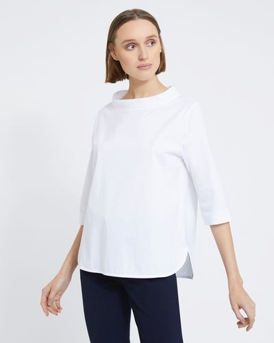 Carolyn Donnelly The Edit White Funnel Neck Top