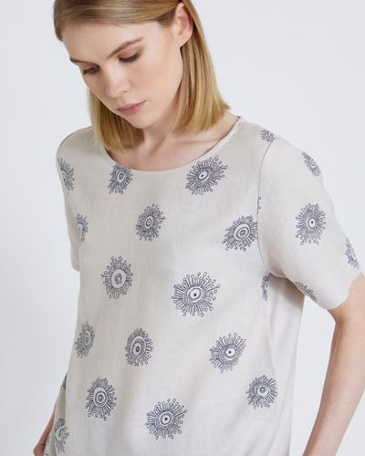 Carolyn Donnelly The Edit Space Flower Linen Top