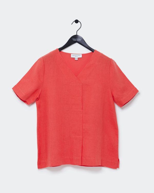 Carolyn Donnelly The Edit V-Neck Pleat Linen Top